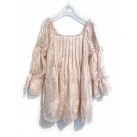 sheer jacquard tunic (pink)