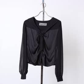 sailor satin blouse (black)