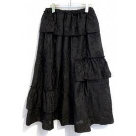 sheer jacquard skirt (black)