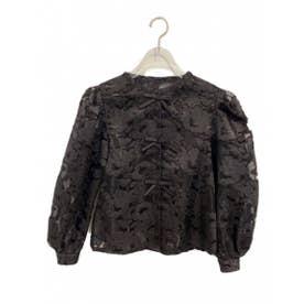 jacquard organdie ribbon blouse (black)