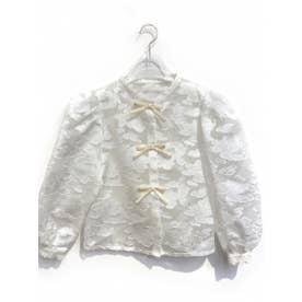 jacquard organdie ribbon blouse (white)