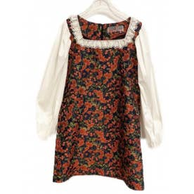 flower jacquard one-piece (red)