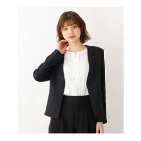 【セレモニー対応】ストレッチノーカラージャケット (ブラック)