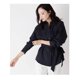 【防シワ/洗濯機OK】ミリタリーシャツジャケット (ネイビー)