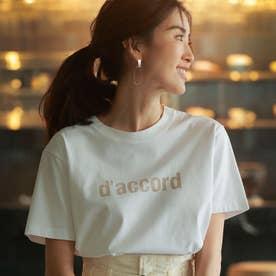 ◆ロゴT/スワイスワイ天竺d'accord Tシャツ シロ×ベージュ