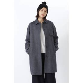 ◆≪Japan Couture≫シェットランドウールステンカラーコート ネイビー
