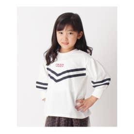 【110‐160cm】綿100%・ボリュームスリーブTシャツ (ホワイト(002))
