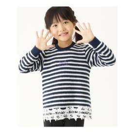 【100-150cm】星柄レースワッフルプルオーバー (ネイビー(393))