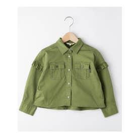 ハッシュアッシュ HusHusH 【110-160cm】肩フリルデザインシャツ (カーキ)