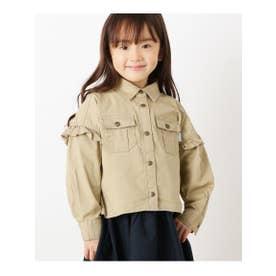 ハッシュアッシュ HusHusH 【110-160cm】肩フリルデザインシャツ (ベージュ)