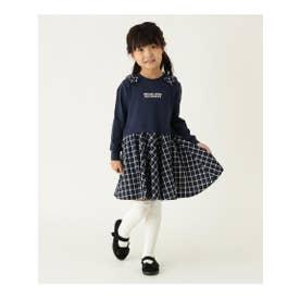 【90-150cm】チェックドッキングワンピース (ネイビー(093))