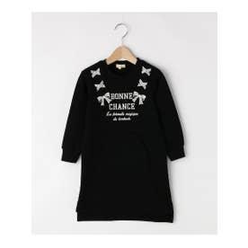 【100-160cm】裏毛ロゴリボンワンピース (ブラック(019))
