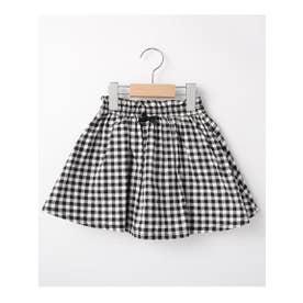 【90-140cm】リボンフレアパンツ付スカート (ブラック(219))
