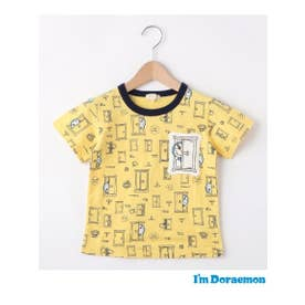 【ドラえもん】どこでもドア総柄Tシャツ(90-130cm) (イエロー(132))