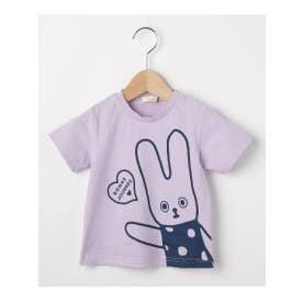 ハッシュアッシュ HusHusH 【80-110cm】コットン100%ダモンヌプリントTシャツ (ライトパープル)