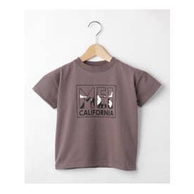 ハッシュアッシュ HusHusH 【100-150cm】MEIコラボ ロゴTシャツ (チャコールグレー)