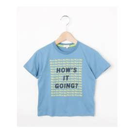 ハッシュアッシュ HusHusH 【100-150cm】ロゴプリントコットン(綿)Tシャツ (ブルー)