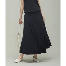 【洗える】 ハイツイストスムース イレギュラーヘムスカート (ブラック系)