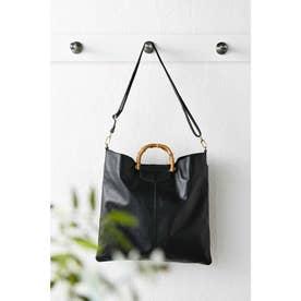 スリムだけどたくさん入って使いやすい バンブー持ち手の2-WAY本革バッグ (ブラック)