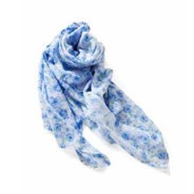 きれい色をふんわりまとう 超大判フラワーコットンストール (ブルー)