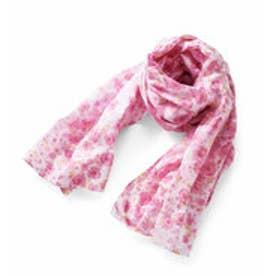 きれい色をふんわりまとう 超大判フラワーコットンストール (ピンク)