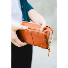 ファスナー開きがワンアクションで使いやすい すっきり大人本革財布 (キャメルオレンジ)