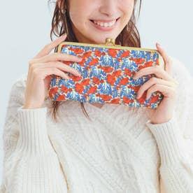 大人リバティプリントで気分が上がる マルチに使えるダブルがま口長財布 (オレンジ)