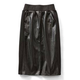 フェイクレザーと裏起毛素材のあったかミディタイトスカート (ブラック)