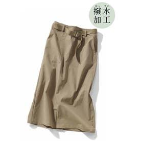 撥水素材がうれしい シルエットきれいなロングスカート (ベージュ)