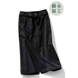 撥水素材がうれしい シルエットきれいなロングスカート (ブラック)