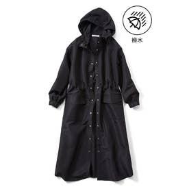 ロングシャツライクなレインコート (ブラック)