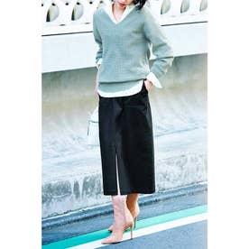 Iラインシルエットの ミリタリーテイストロングスカート (ブラック)