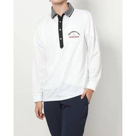 メンズ ゴルフ 長袖シャツ ヘリンボン長袖ポロシャツ IG-1L1571P (ホワイト)