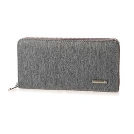 ヘリンボーンツイード×レザーラウンドファスナー式長財布 (グレー)