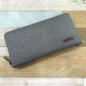 ヘリンボーンツイード×レザーラウンドファスナー式長財布 (Lグレー)