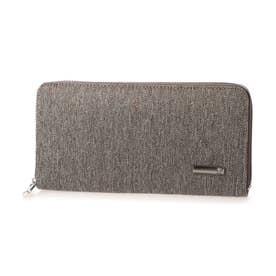 ヘリンボーンツイード×レザーラウンドファスナー式長財布 (ブラウン)