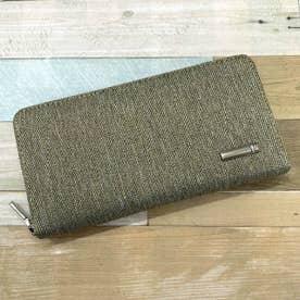 ヘリンボーンツイード×レザーラウンドファスナー式長財布 (カーキ)