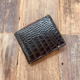 アンティークシャドウクロコエンボスマチ付き2つ折りウォレット (ブラック)
