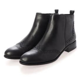 ウィングチップデザインショートブーツ (ブラック)