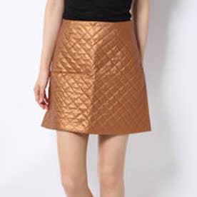 メタリック合皮キルティングスカート (ゴールド)