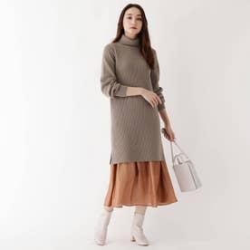 【WEB限定サイズ】畦タートルチュニックサテンスカートセット (タバコブラウン)