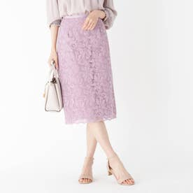 【WEB限定サイズ】エンブロイダリーレースタイトスカート (パープル)