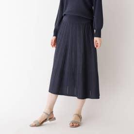 シャイニー柄編みプリーツニットスカート【WEB限定サイズ】 (ネイビー)