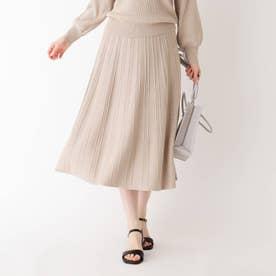 シャイニー柄編みプリーツニットスカート【WEB限定サイズ】 (ライトベージュ)