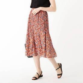 割繊プリーツフラワースカート【WEB限定サイズ】 (オレンジ)