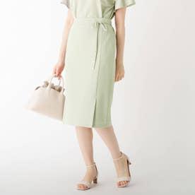 リネンタッチストリングタイトスカート【WEB限定サイズ】 (オリーブグリーン)
