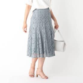 フラワーレースパネルフレアスカート【WEB限定サイズ】 (サックス)