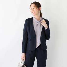 DELEGANT起毛ツイルノーカラージャケット【WEB限定サイズ】 (ネイビー)