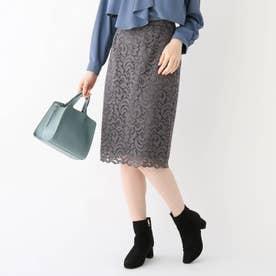 ポンチ裏アラベスクレースタイトスカート【WEB限定サイズ】 (チャコールグレー)