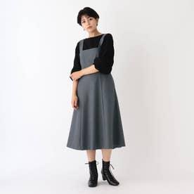 ウール調ツイルジャンパースカート【WEB限定サイズ】 (ダークグレー)